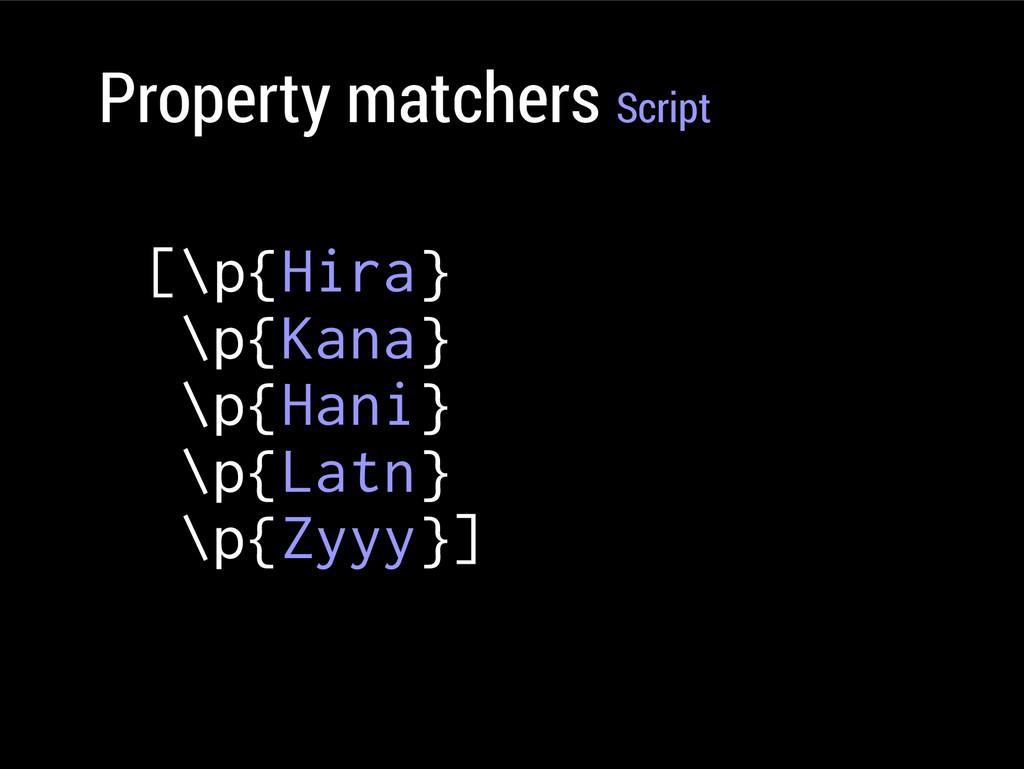 Property matchers Script [\p{Hira} \p{Kana} \p{...
