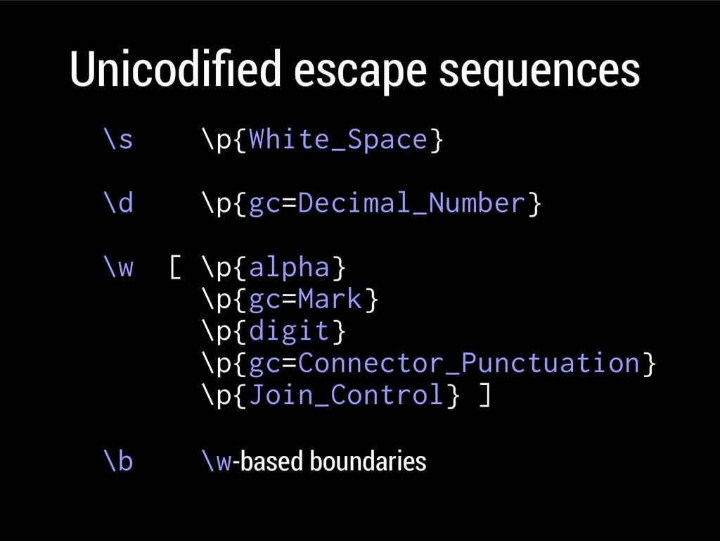 Unicodifed escape sequences \s \p{White_Space} ...