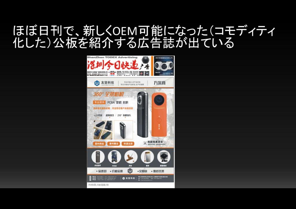ほぼ日刊で、新しくOEM可能になった(コモディティ 化した)公板を紹介する広告誌が出ている
