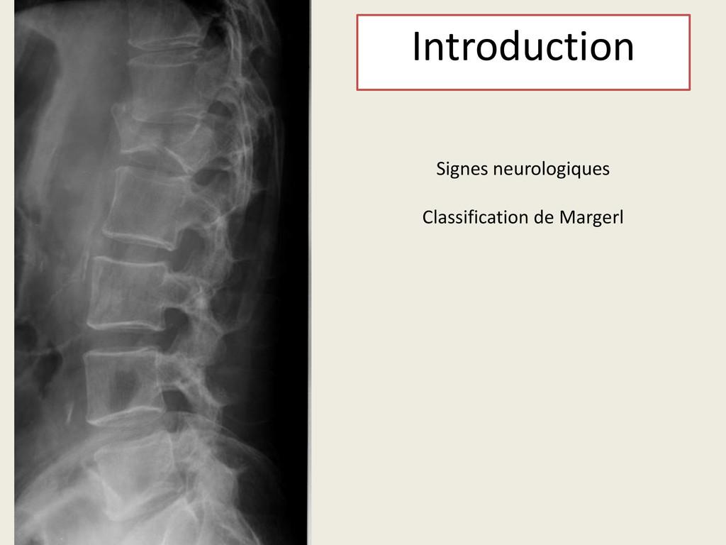 Signes neurologiques Classification de Margerl ...