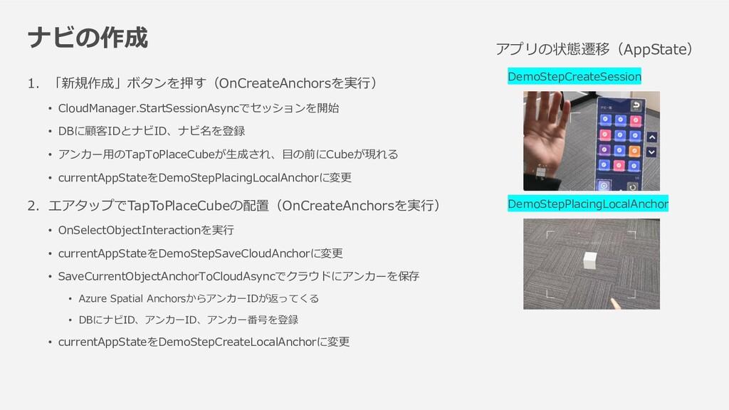 ナビの作成 1.「新規作成」ボタンを押す(OnCreateAnchorsを実行) • Clou...