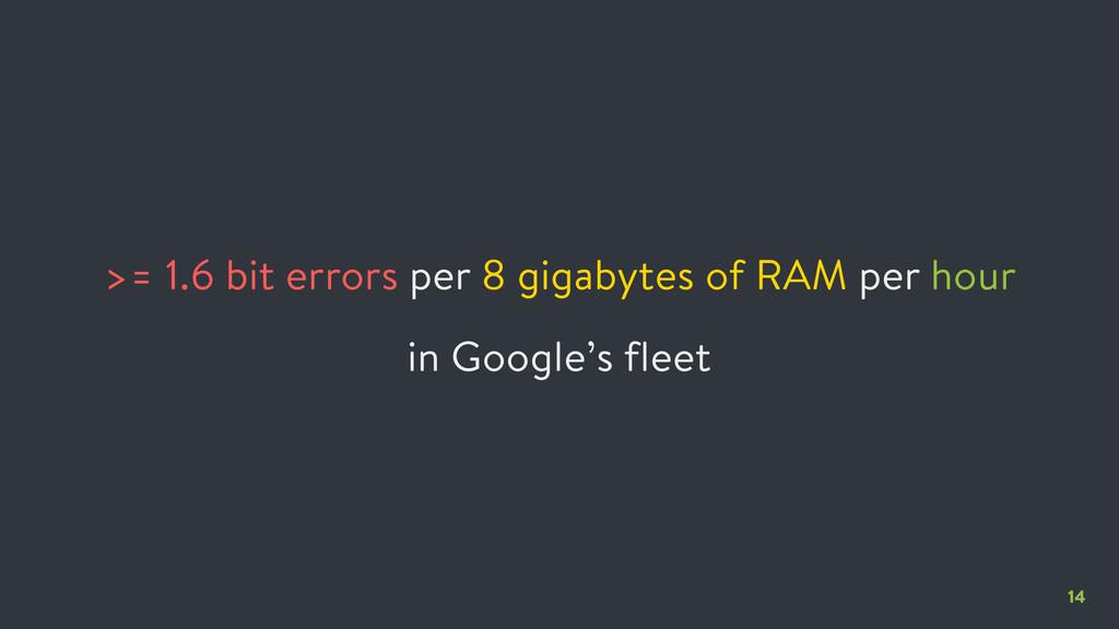 14 >= 1.6 bit errors per 8 gigabytes of RAM per...