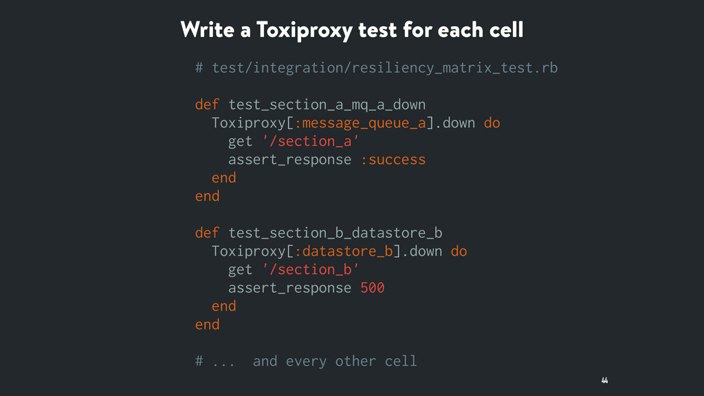 Write a Toxiproxy test for each cell 44 # test/...