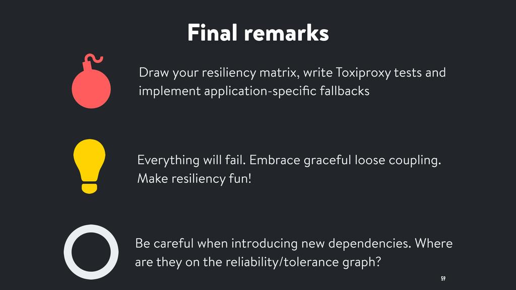 Final remarks 59 Draw your resiliency matrix, w...