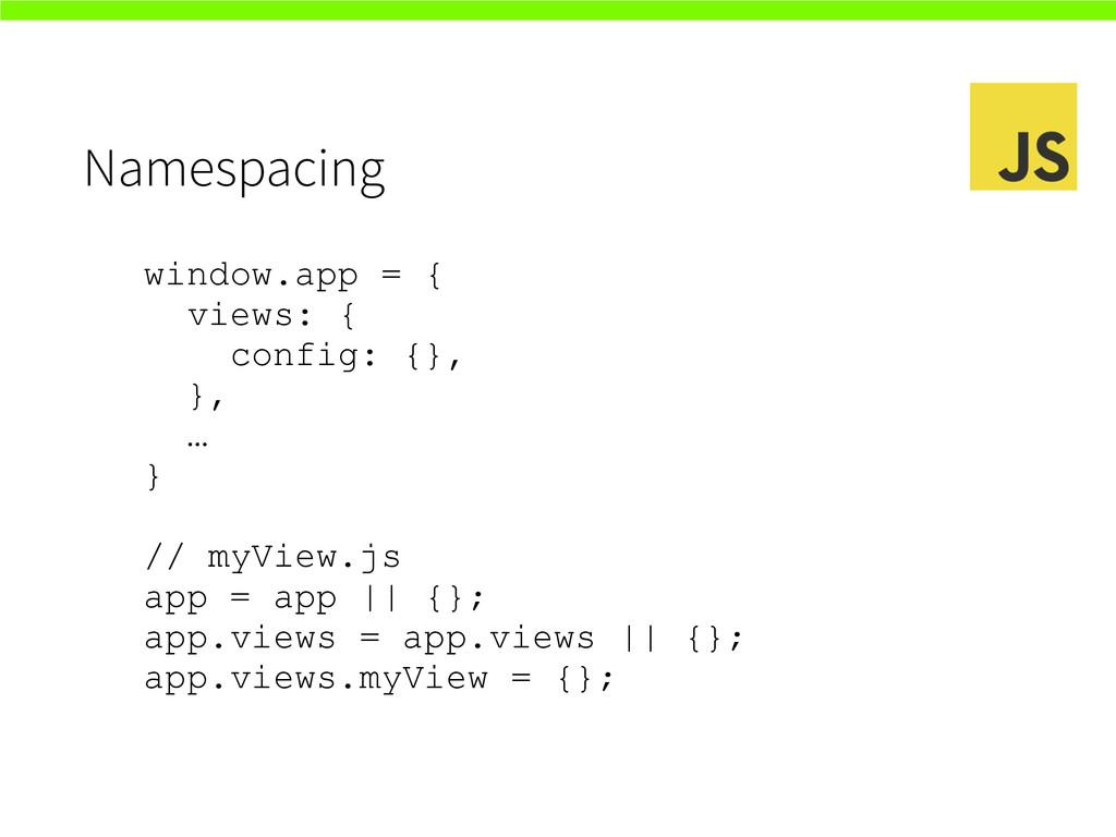Namespacing window.app = { views: { config: {},...