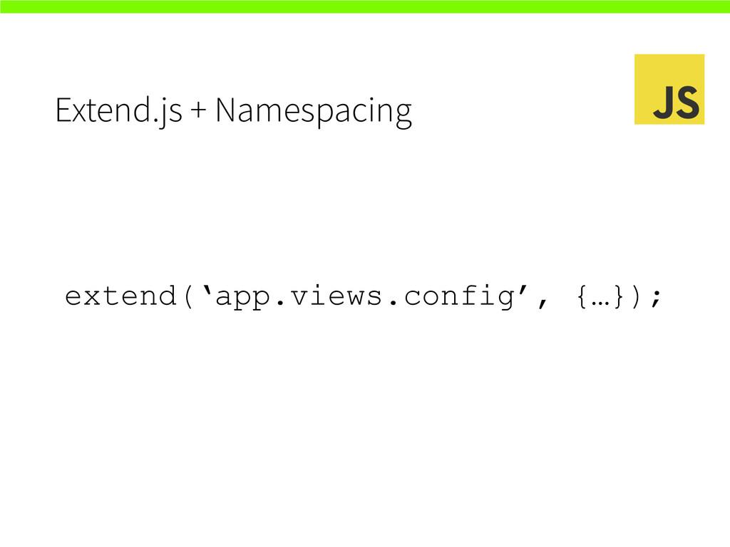 Extend.js + Namespacing extend('app.views.confi...