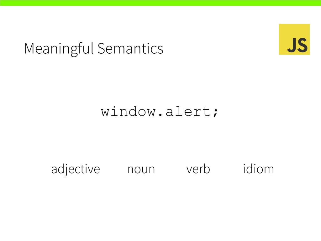 Meaningful Semantics window.alert; adjective no...