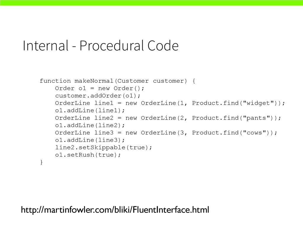 Internal - Procedural Code http://martinfowler....
