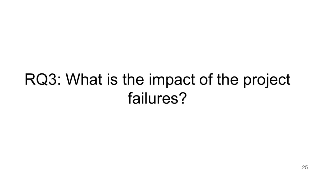 RQ3: What is the impact of the project failures...