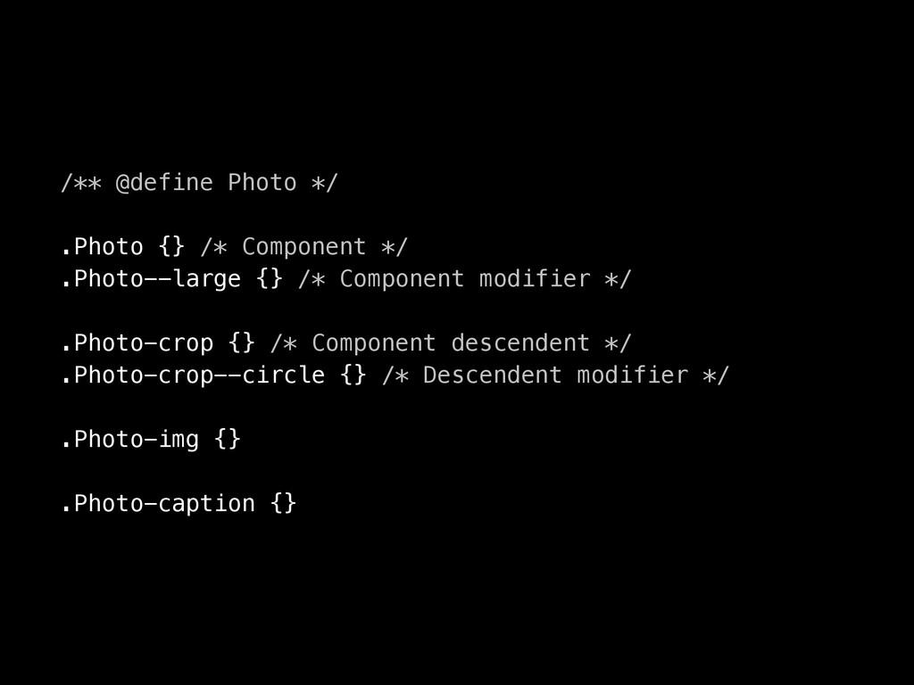 /** @define Photo */ .Photo {} /* Component */ ...