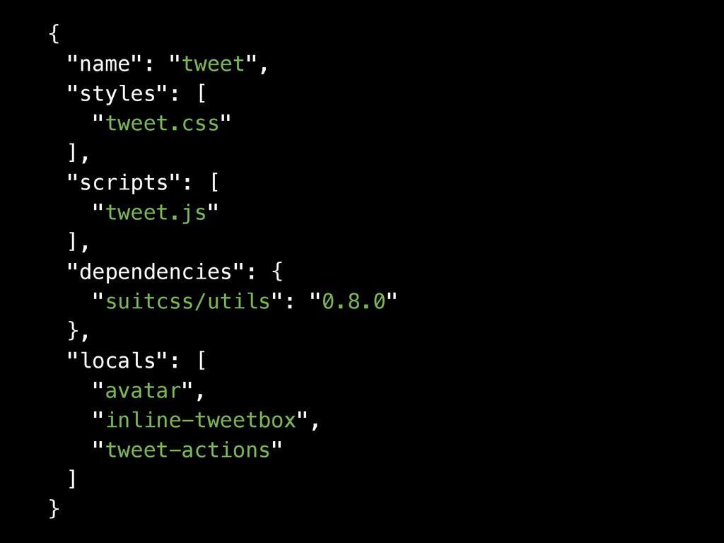 """{ """"name"""": """"tweet"""", """"styles"""": [ """"tweet.css"""" ], """"..."""