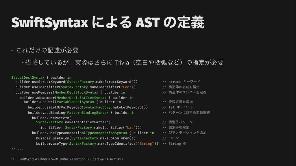 SwiftSyntax ʹΑΔ AST ͷఆٛ • ͜Ε͚ͩͷهड़͕ඞཁ • লུ͍ͯ͠Δ͕ɺ...