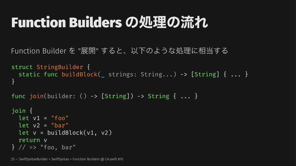 "Function Builders ͷॲཧͷྲྀΕ Function Builder Λ ""ల։..."