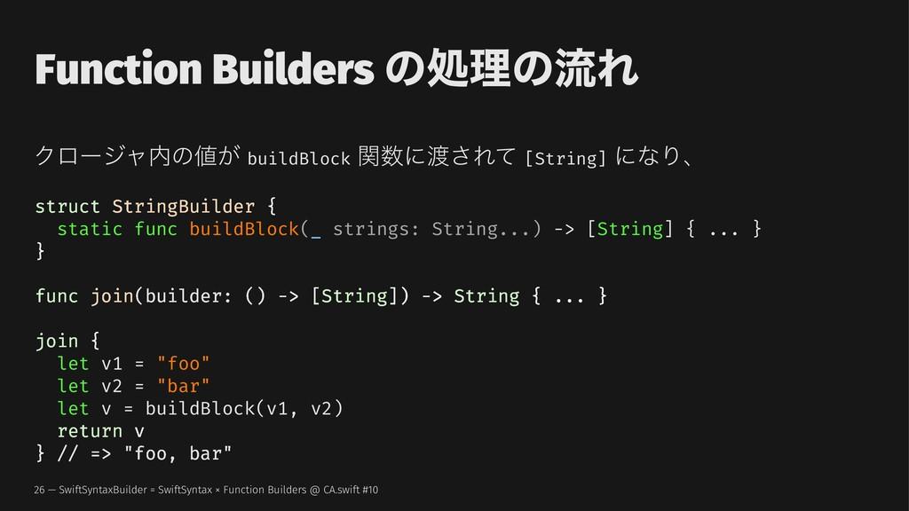 Function Builders ͷॲཧͷྲྀΕ Ϋϩʔδϟͷ͕ buildBlock ؔ...