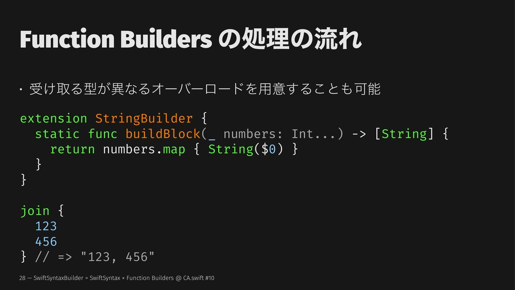 Function Builders ͷॲཧͷྲྀΕ • ड͚औΔܕ͕ҟͳΔΦʔόʔϩʔυΛ༻ҙ͢...