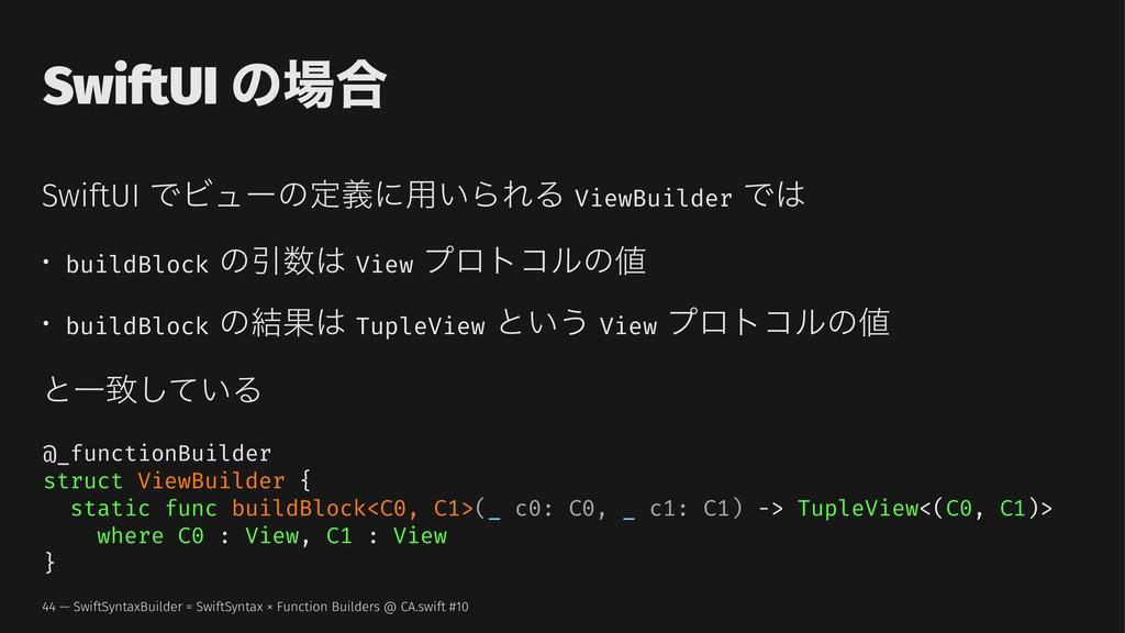 SwiftUI ͷ߹ SwiftUI ͰϏϡʔͷఆٛʹ༻͍ΒΕΔ ViewBuilder Ͱ...
