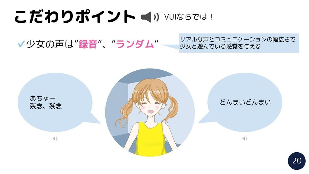 """こだわりポイント VUIならでは! ✔少女の声は""""録音""""、""""ランダム"""" リアルな声とコミュニケ..."""