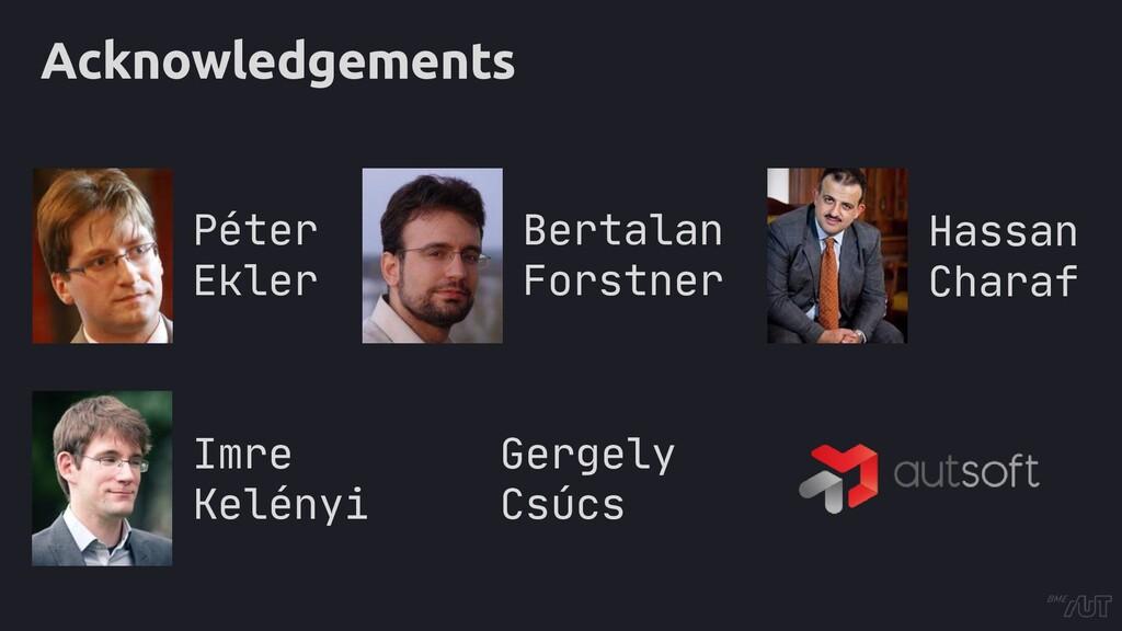 Acknowledgements Bertalan Forstner Péter Ekler ...