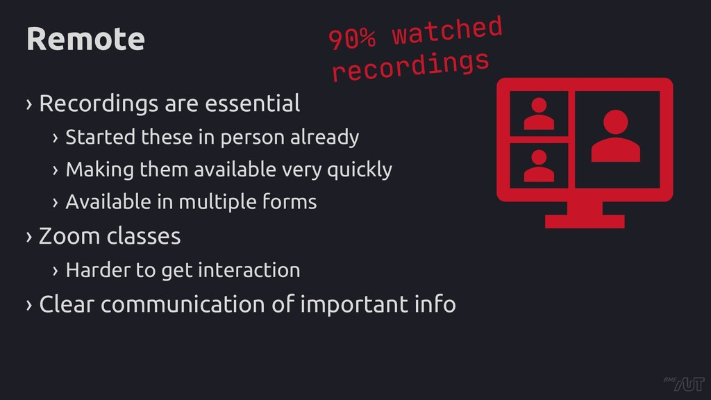 Remote › Recordings are essential › Started the...