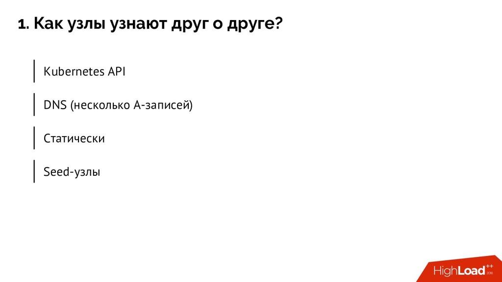 1. Как узлы узнают друг о друге? Kubernetes API...