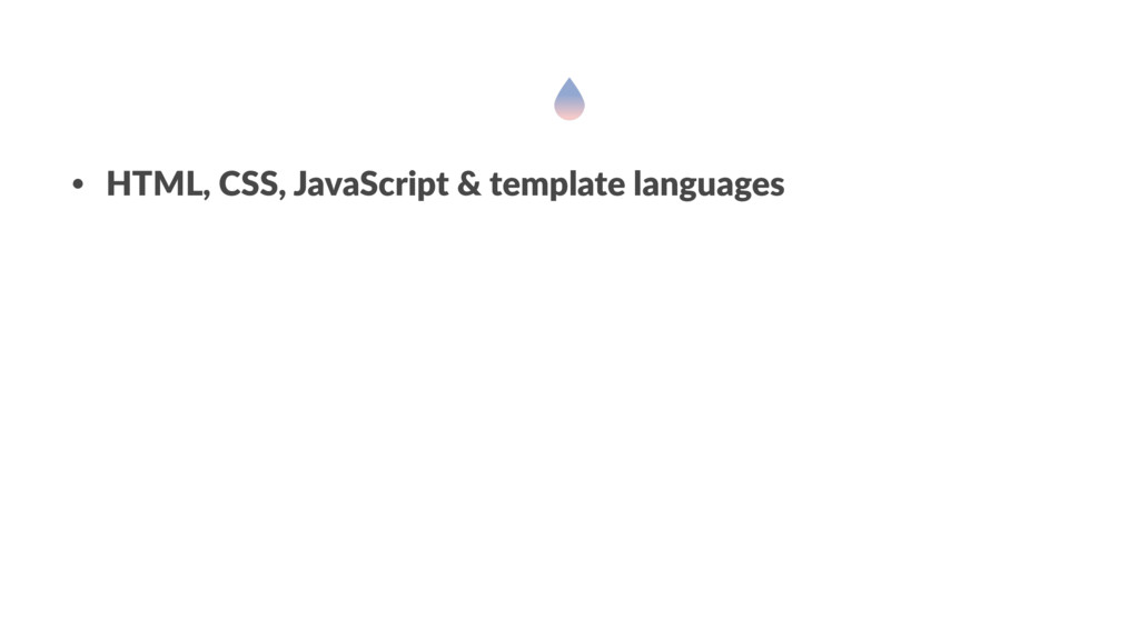 • HTML, CSS, JavaScript & template languages