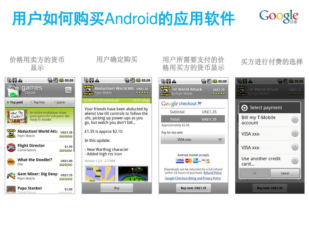 用户如何购买Android的应用软件 价格用卖方的货币 显示 用户确定购买 用户所需要支付的价...