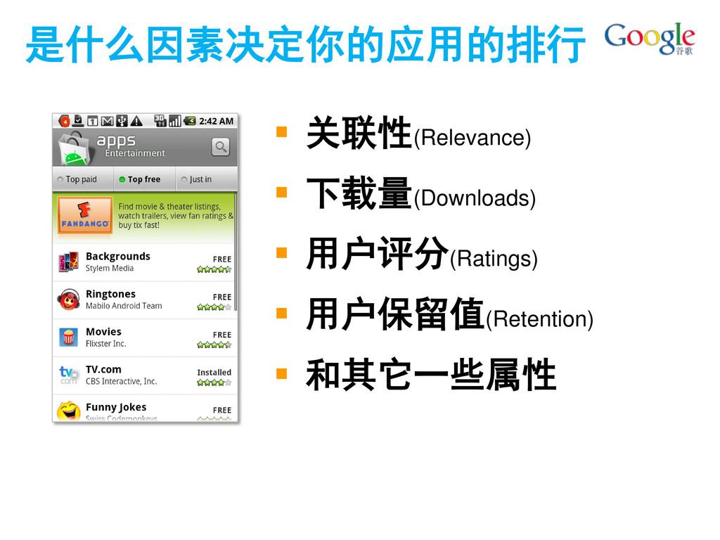 是什么因素决定你的应用的排行  关联性(Relevance)  下载量(Downloads...