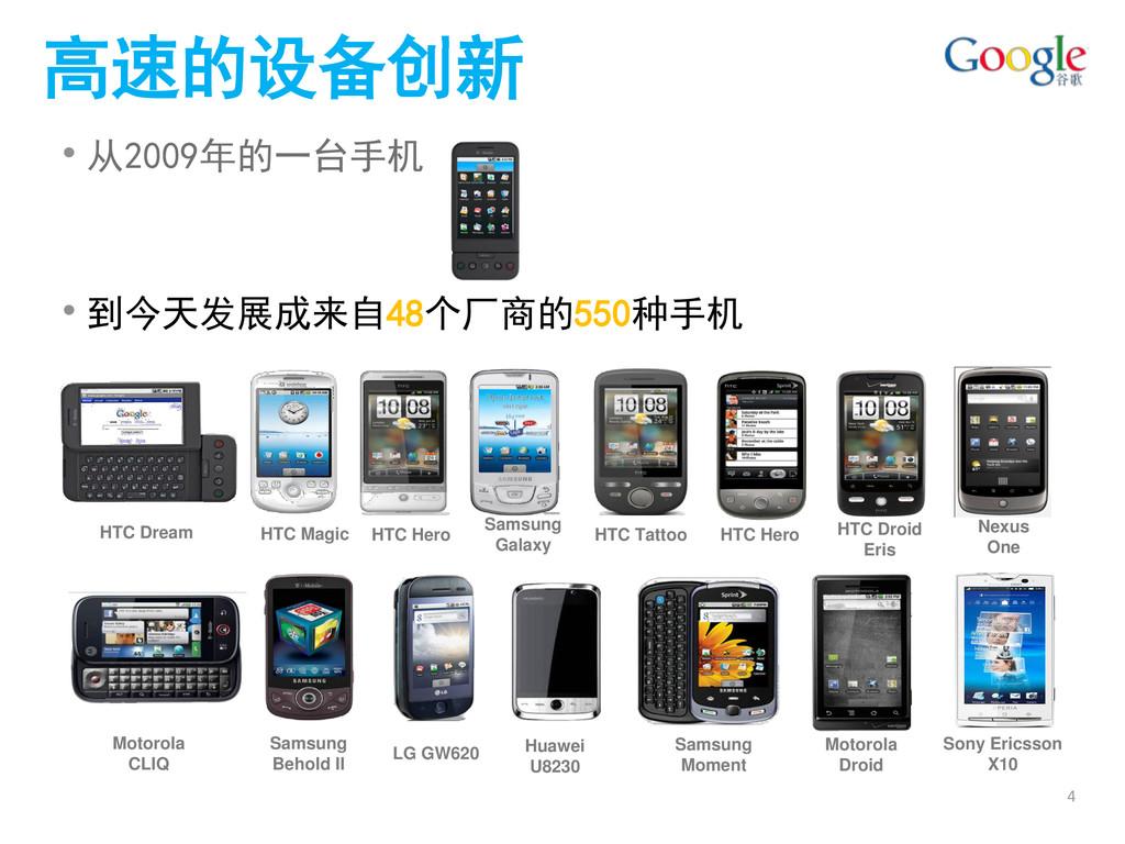 高速的设备创新 • 从2009年的一台手机 • 到今天发展成来自48个厂商的550种手机 HT...