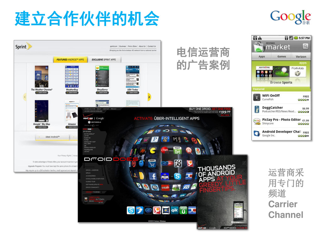 建立合作伙伴的机会 电信运营商 的广告案例 运营商采 用专门的 频道 Carrier Chan...