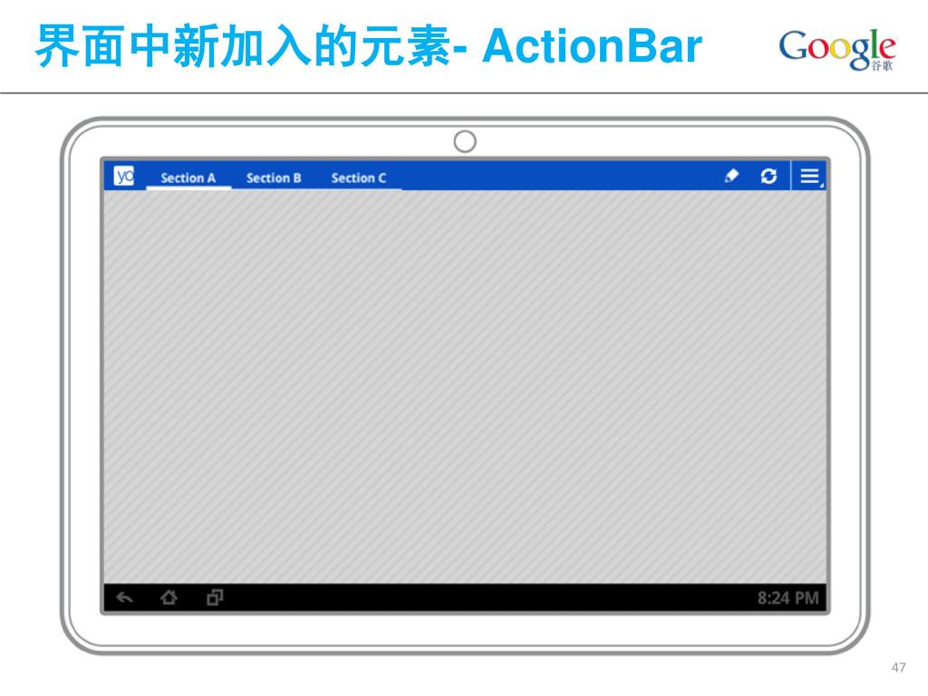 界面中新加入的元素- ActionBar 47