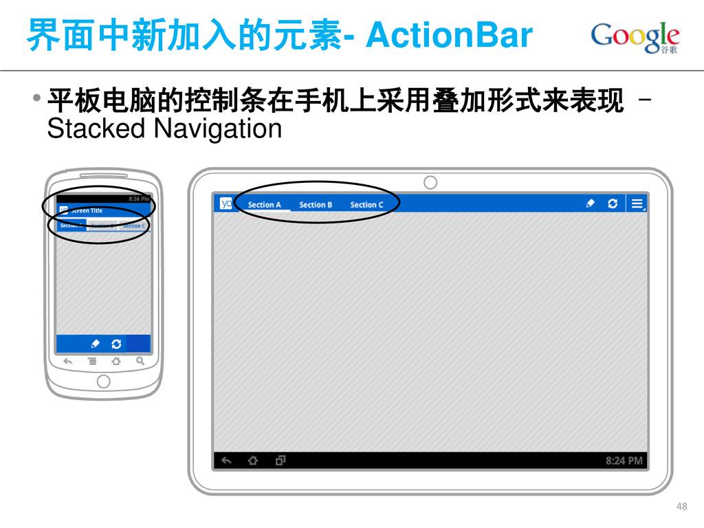 •平板电脑的控制条在手机上采用叠加形式来表现 - Stacked Navigation 界面中...