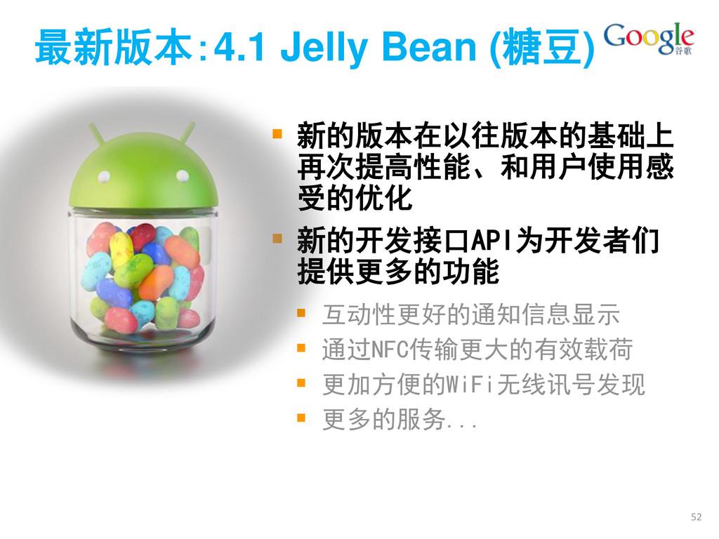 最新版本:4.1 Jelly Bean (糖豆)  新的版本在以往版本的基础上 再次提高性能...
