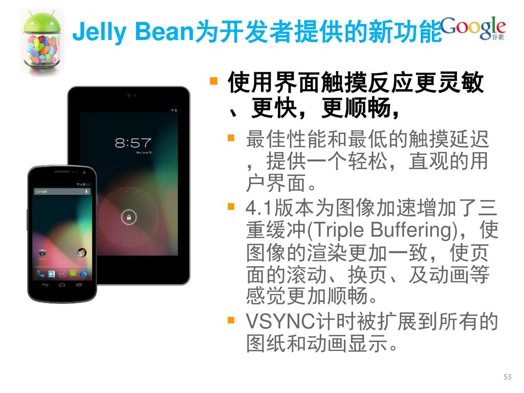 Jelly Bean为开发者提供的新功能  使用界面触摸反应更灵敏 、更快,更顺畅,  最...