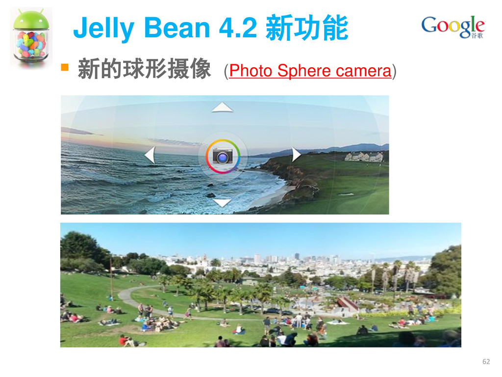 Jelly Bean 4.2 新功能 62  新的球形摄像 (Photo Sphere ca...
