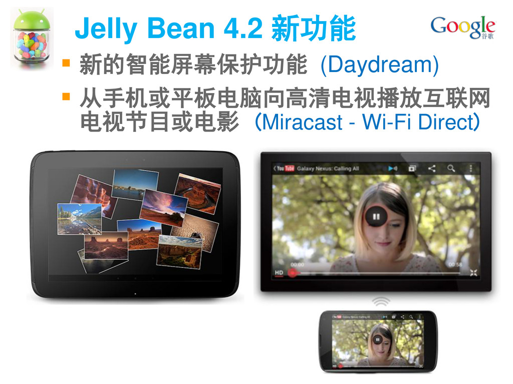 Jelly Bean 4.2 新功能 64  新的智能屏幕保护功能 (Daydream) ...