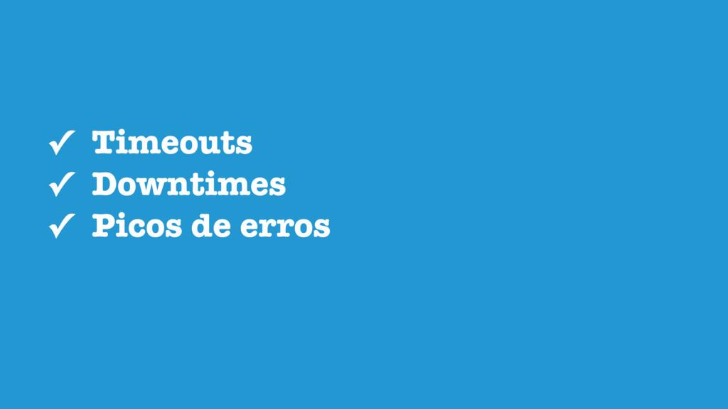 ✓ Timeouts ✓ Downtimes ✓ Picos de erros