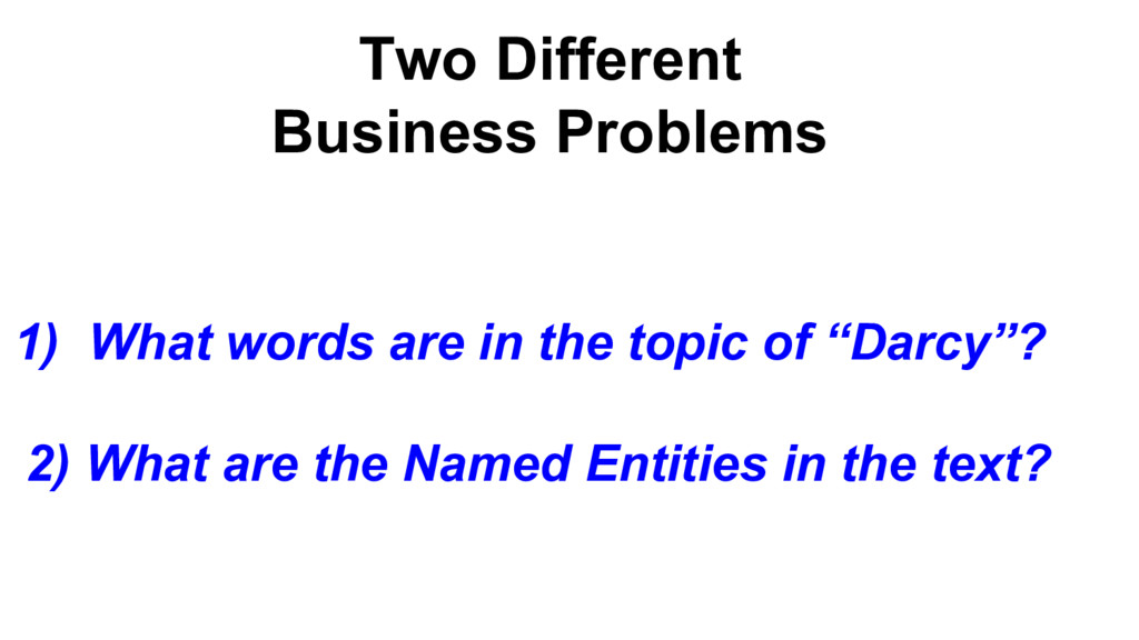 Two Different Business Problems 1) What words a...