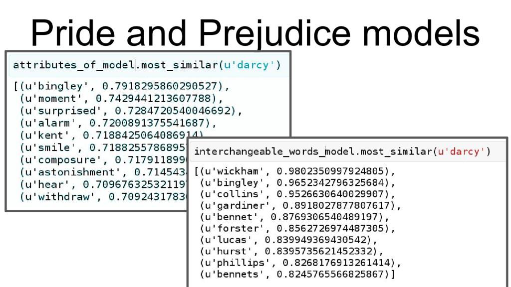 Pride and Prejudice models