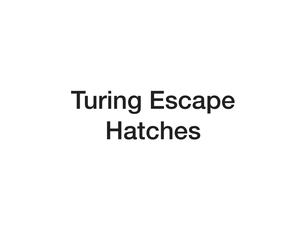 Turing Escape Hatches
