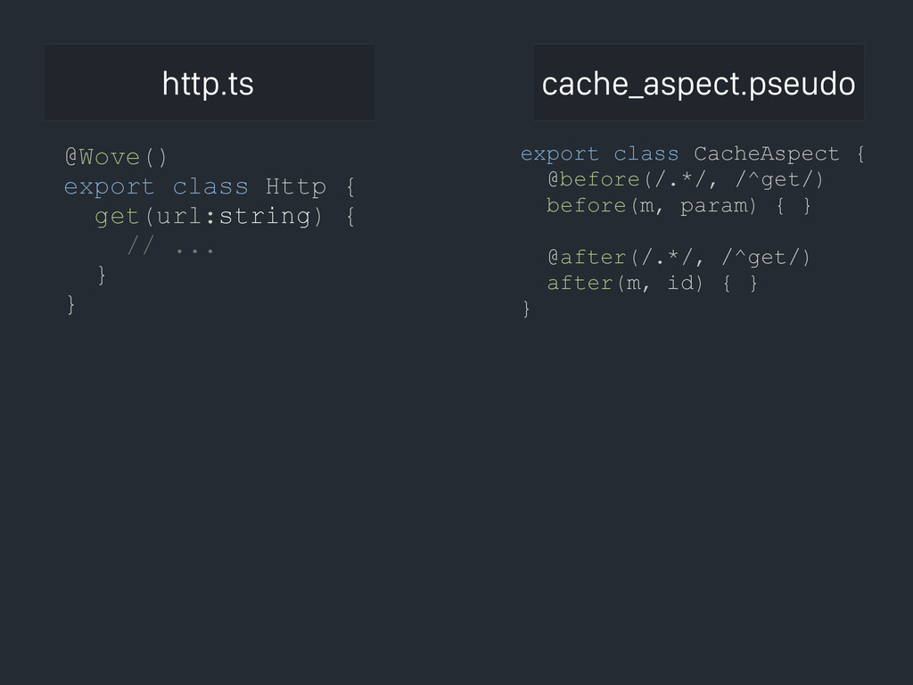 export class CacheAspect { @before(/.*/, /^get/...
