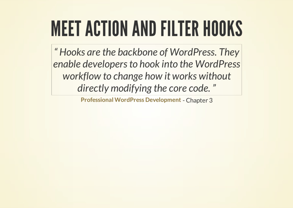 "MEET ACTION AND FILTER HOOKS - Chapter 3 "" Hook..."