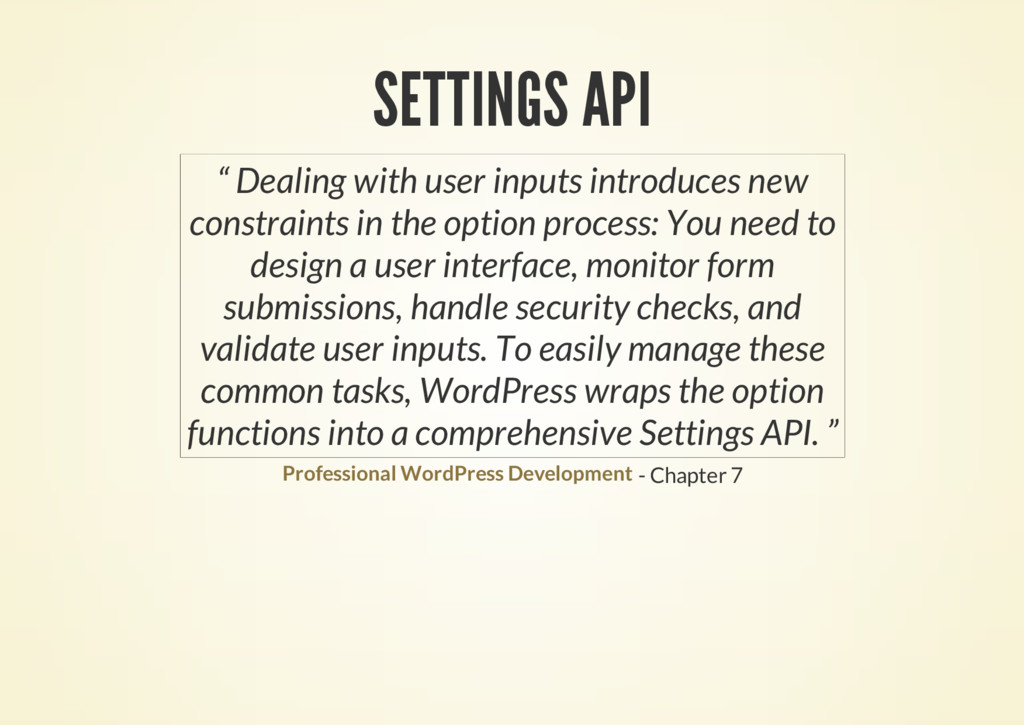 "SETTINGS API - Chapter 7 "" Dealing with user in..."