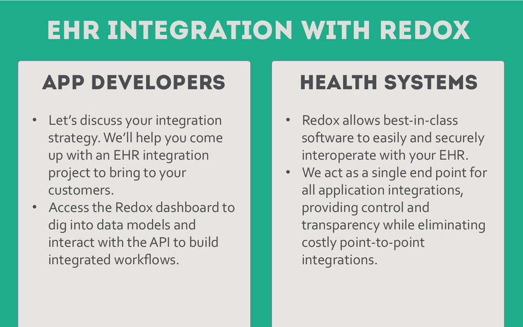 EHR Integration with REdox App Developers Healt...