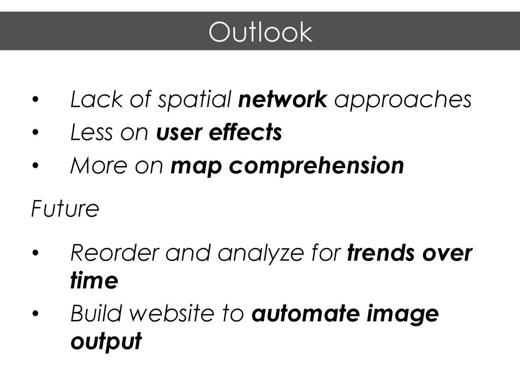 • Lack of spatial network approaches • Less o...