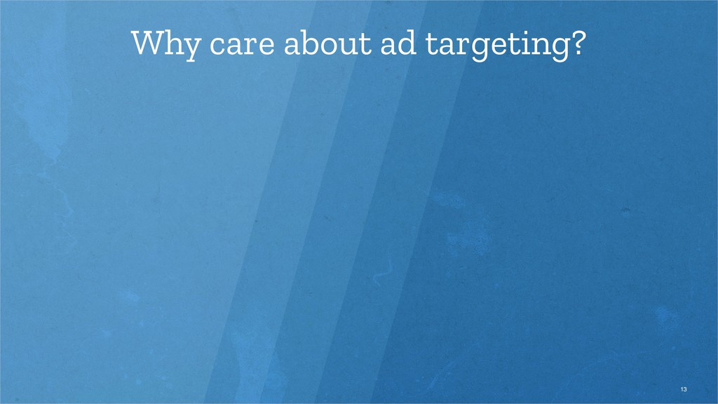 Why care about ad targeting? 13