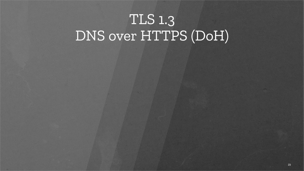 TLS 1.3 DNS over HTTPS (DoH) 23