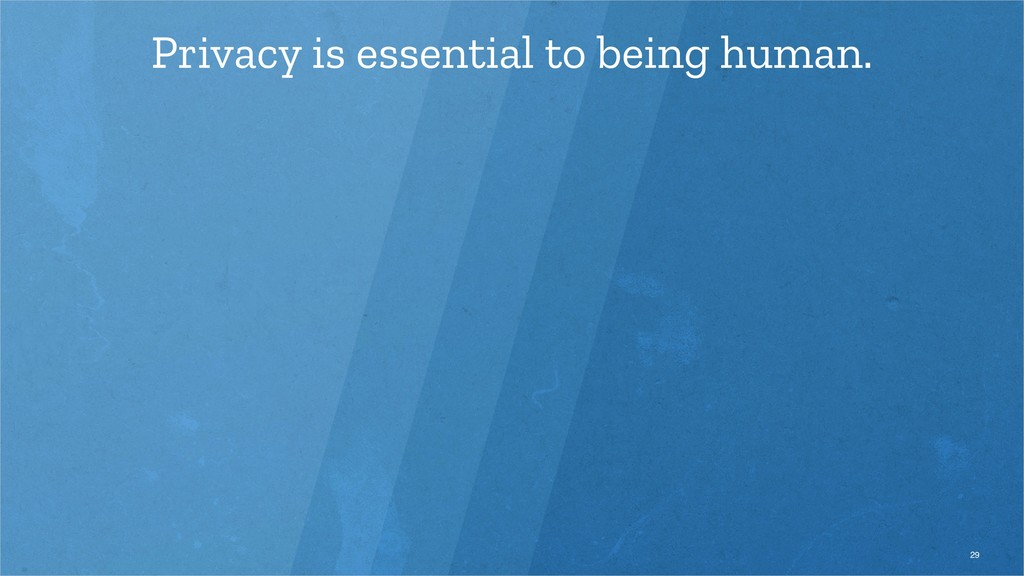 Privacy is essential to being human. 29