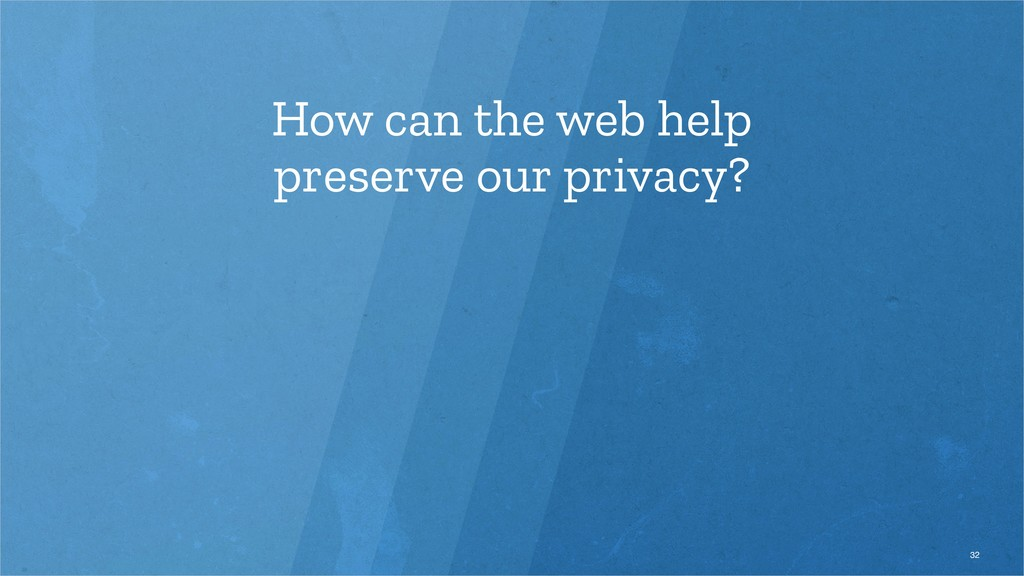 How can the web help preserve our privacy? 32