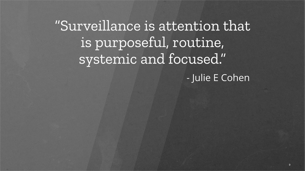 """Surveillance is attention that is purposeful, ..."