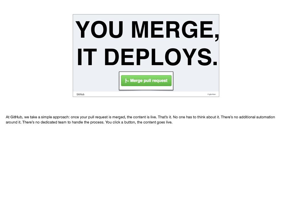 @gjtorikian YOU MERGE, IT DEPLOYS. At GitHub, w...